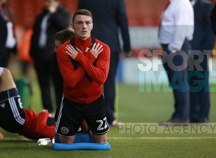 Caolan Lavery of Sheffield Utd fitness test pitch side during the Championship match at Bramall Lane Stadium, Sheffield. Picture date 21st November 2017. Picture credit should read: Simon Bellis/Sportimage