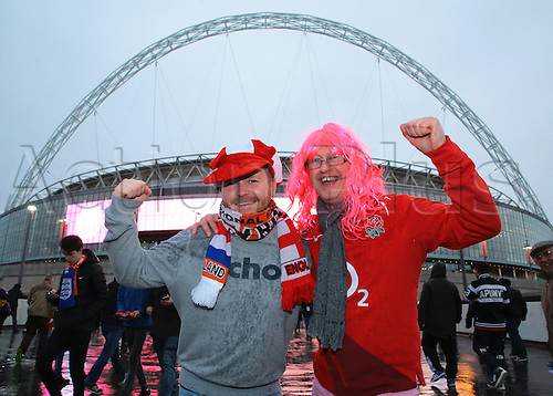 29.03.2016. Wembley Stadium, London, England.  International Football Friendly England versus Netherlands. England fans arrive at a very wet Wembley Stadium