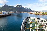 Hurtigruten ferry ship arriving at harbour at Svolvaer, Lofoten Islands, Nordland, Norway