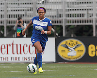 Boston Breakers forward Sydney Leroux (2) on the attack.  In a National Women's Soccer League (NWSL) match, Seattle Reign FC (white) defeated Boston Breakers (blue), 2-1, at Dilboy Stadium on June 26, 2013.