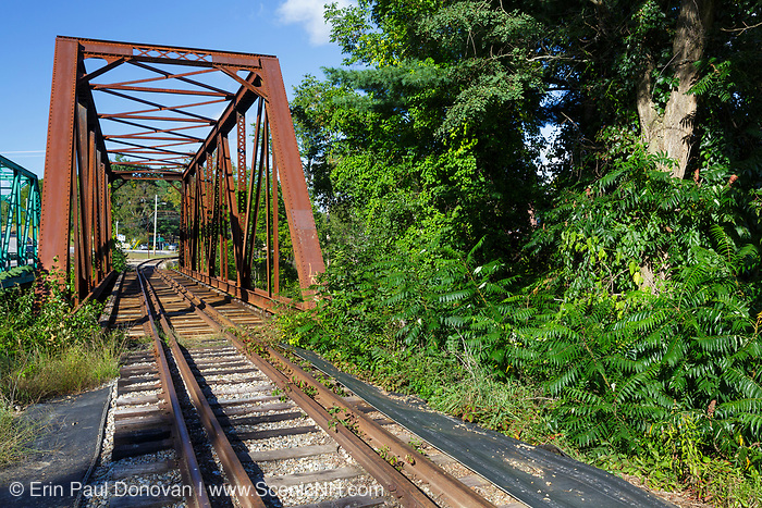 Trestle, near today's Common Man Inn & Spa, along the old Pemigewasset Valley Railroad in Plymouth, New Hampshire. Eventually leased to the Boston & Maine Railroad in 1895, the Pemigewasset Valley Railroad connected Plymouth to North Woodstock.