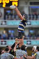Charlie Ewels of Bath Rugby wins the ball at a lineout. Aviva Premiership match, between Bath Rugby and Worcester Warriors on December 27, 2015 at the Recreation Ground in Bath, England. Photo by: Patrick Khachfe / Onside Images