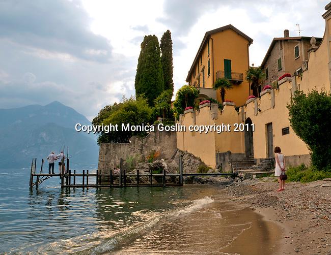 A small beach in Varenna, a town on Lake Como, Italy