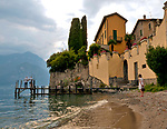A small beach in Varenna, a town on Lake Como, Italy