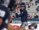 Nevada quarterback Ty Gangi looks to throw to receiver Wyatt Demps against San Jose State in the first half of an NCAA college football game in Reno, Nev. Saturday, Nov. 11, 2017. (AP Photo/Tom R. Smedes)