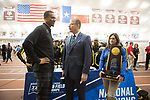 COLLEGE STATION, TX - MARCH 11: ESPN anchor John Anderson speaks with Oregon head coach Robert Johnson during the Division I Men's and Women's Indoor Track & Field Championship held at the Gilliam Indoor Track Stadium on the Texas A&M University campus on March 11, 2017 in College Station, Texas. (Photo by Michael Starghill/NCAA Photos/NCAA Photos via Getty Images)