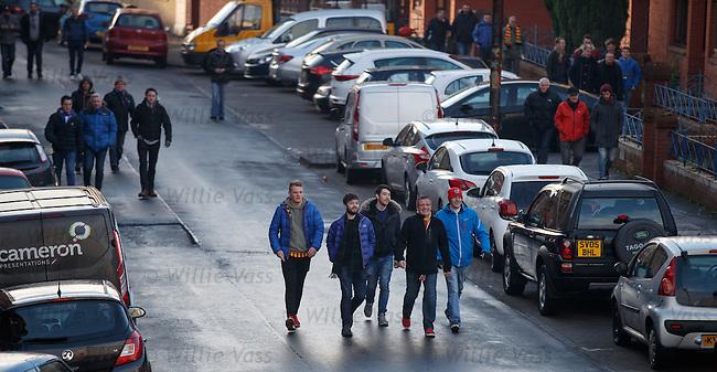 Partick Thistle and Rangers fans arriving for the match