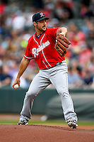 Tacoma Rainiers starting pitcher Donn Roach (13) delivers a pitch to the plate against the Salt Lake Bees in Pacific Coast League action at Smith's Ballpark on June 14, 2016 in Salt Lake City, Utah. The Bees defeated the Rainiers 9-4.  (Stephen Smith/Four Seam Images)