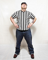 Ref Frigerator, a roller derby referee for the Boston Derby Dames. Roller derby is an American contact sport, popular with young women, which combines both athleticism and a satirical punk third-wave feminism aesthetic.