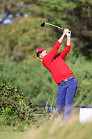 Alex Smalley (USA) on the 6th tee during the singles matches at the Walker Cup, Royal Liverpool Golf Club, Hoylake, Cheshire, England. 07/09/2019.<br /> Picture Fran Caffrey / Golffile.ie<br /> <br /> All photo usage must carry mandatory copyright credit (© Golffile | Fran Caffrey)