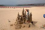 Sand castle sculpture , on Calete de Fuste beach, Fuerteventurer, Canary Islands, Spain. May 2007