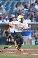 Brandon McIIwain (12) of the East team bats during the 2015 Perfect Game All-American Classic at Petco Park on August 16, 2015 in San Diego, California. The East squad defeated the West, 3-1. (Larry Goren/Four Seam Images)