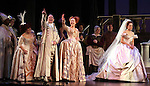 Ann Harada, Peter Bartlett, Harriet Harris & Laura Osnes with the Broadway cast of 'Rodgers + Hammerstein's Cinderella' host a wedding proposal on stage at the Broadway Theatre. Alan Chau proposes to Maria Roca. Alan is a sergent in NYC's  19th police precinct and Maria works in the Department of Environmental Protection. New York City on 1/28/2013