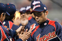 18 March 2009: #51 Ichiro Suzuki of Japan celebrates with teammates after winning the game against Cuba during the 2009 World Baseball Classic Pool 1 game 5 at Petco Park in San Diego, California, USA. Japan wins 5-0 over Cuba.