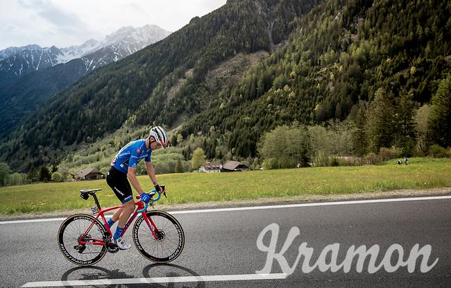 Maglia Azzurra / KOM leader Giulio Ciccone (ITA/Trek-Segafredo) in the final kilometers of the stage<br /> <br /> Stage 17: Commezzadura (Val di Sole) to Anterselva/Antholz (181km)<br /> 102nd Giro d'Italia 2019<br /> <br /> ©kramon