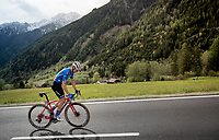 Maglia Azzurra / KOM leader Giulio Ciccone (ITA/Trek-Segafredo) in the final kilometers of the stage<br /> <br /> Stage 17: Commezzadura (Val di Sole) to Anterselva/Antholz (181km)<br /> 102nd Giro d'Italia 2019<br /> <br /> ©kramon