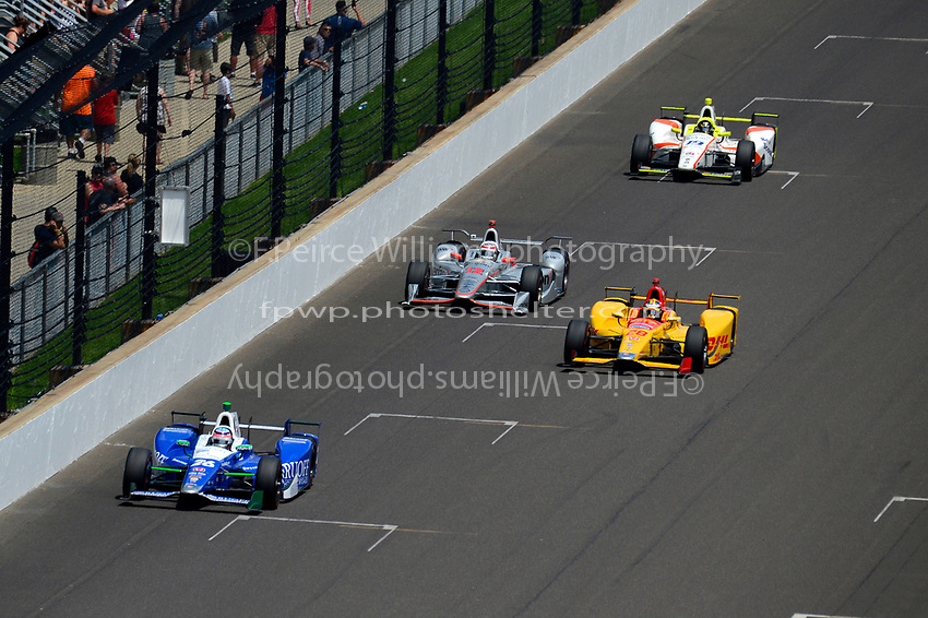 Verizon IndyCar Series<br /> Indianapolis 500 Race<br /> Indianapolis Motor Speedway, Indianapolis, IN USA<br /> Sunday 28 May 2017<br /> Takuma Sato, Andretti Autosport Honda, Ryan Hunter-Reay, Andretti Autosport Honda, Will Power, Team Penske Chevrolet, Ed Jones, Dale Coyne Racing Honda<br /> World Copyright: F. Peirce Williams<br /> LAT Images