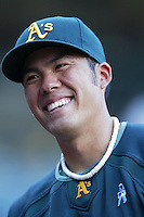 Kurt Suzuki of the Oakland Athletics during batting practice before a game from the 2007 season at Angel Stadium in Anaheim, California. (Larry Goren/Four Seam Images)