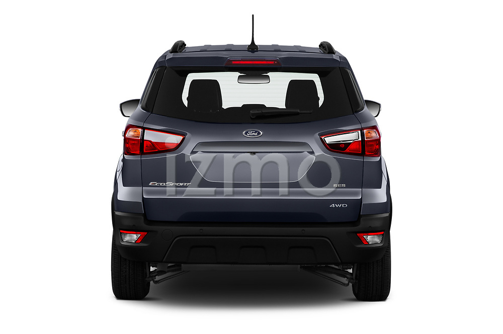 Straight rear view of a 2019 Ford EcoSport SES 5 Door SUV stock images