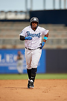 Tampa Tarpons Alexander Palma (29) rounds the bases after hitting a home run during a Florida State League game against the Jupiter Hammerheads on July 26, 2019 at George M. Steinbrenner Field in Tampa, Florida.  Tampa defeated Jupiter 2-0.  (Mike Janes/Four Seam Images)