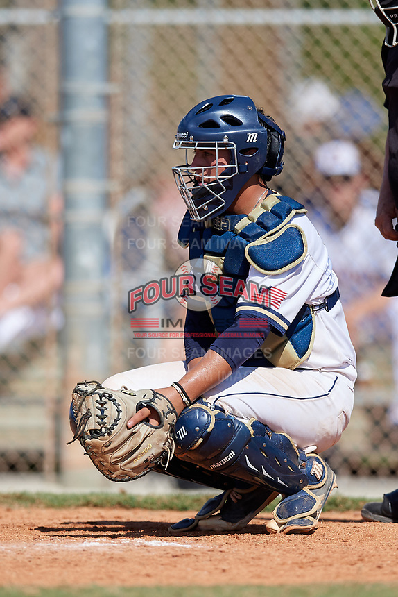 Gabe Briones during the WWBA World Championship at the Roger Dean Complex on October 21, 2018 in Jupiter, Florida.  Gabe Briones is a catcher from Riverside, California who attends Martin Luther King High School and is committed to Southern California.  (Mike Janes/Four Seam Images)