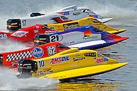 Heat race start, front to back: Terry Rinker (#10), Chris Fairchild (#62), Jose Mendana (#21), Jeff Shepherd (#38), Lynn Simberger (#72), Brian Venton (#17) and Randy Rinker (#41). F1/Formula 1 class.Bay City River Roar, Bay City,Michigan USA.26-2821 June, 2009..©F. Peirce Williams 2009 USA.F.Peirce Williams.photography.ref: RAW (.NEF) File Available