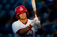 Jose Garcia (3) of the Springfield Cardinals on deck during a game against the Tulsa Drillers at Hammons Field on July 18, 2011 in Springfield, Missouri. Tulsa defeated Springfield 13-8. (David Welker / Four Seam Images)