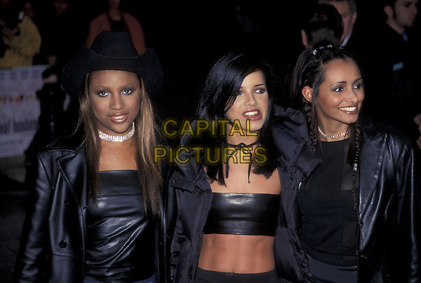HONEYZ.12 April 1999.half length half-length black boob tube midriff tummy bare belly.ref:8360.www.capitalpictures.com.sales@capitalpictures.com.©Capital Pictures