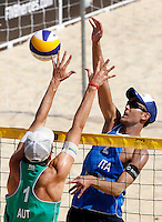 Italy's Daniele Lupo and Austria's Robin Seidl, left, in action during the match between Italy and Austria at Beach Volleyball World Tour Grand Slam, Foro Italico, Rome, 21 June 2013.<br /> UPDATE IMAGES PRESS/Isabella Bonotto