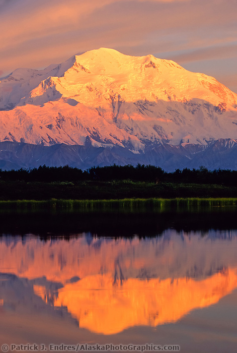 20, 3020+ Ft. Mt. Denali, Reflection Pond, Sunset, Denali National Park, Alaska