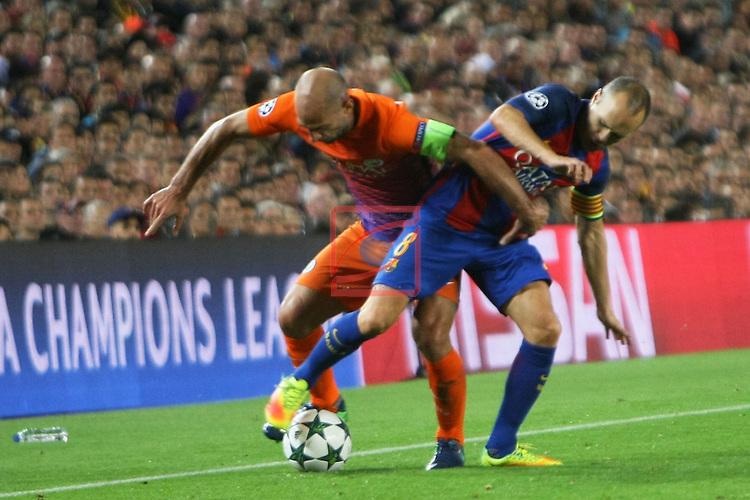 UEFA Champions League 2016/2017 - Matchday 3.<br /> FC Barcelona vs Manchester City FC: 4-0.<br /> Pablo Zabaleta vs Andres Iniesta.