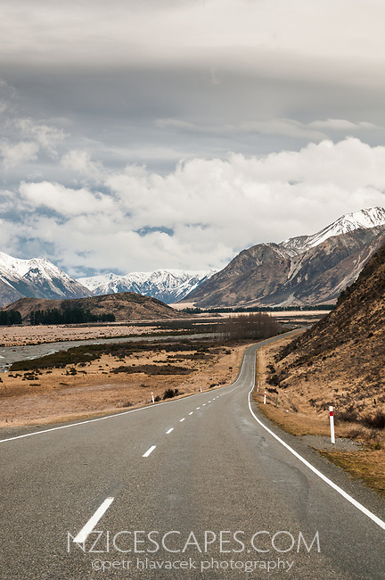 Road towards Porters Pass near Cass, Canterbury, New Zealand