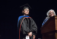 Wendy Sternberg, Vice President for Academic Affairs and Dean of the College and history Professor Sharla Fett, recipient of the Graham L. Sterling Memorial Award.<br /> The class of 2021 are welcomed to Occidental College by trustees, faculty and staff in Thorne Hall on Aug. 29, 2017 during Oxy's 130th Convocation ceremony, a tradition that formally marks the start of the academic year and welcomes the new class.<br /> (Photo by Marc Campos, Occidental College Photographer)