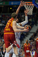 Real Madrid´s Gustavo Ayon and Galatasaray´s Pocius during 2014-15 Euroleague Basketball match between Real Madrid and Galatasaray at Palacio de los Deportes stadium in Madrid, Spain. January 08, 2015. (ALTERPHOTOS/Luis Fernandez) /NortePhoto /NortePhoto.com