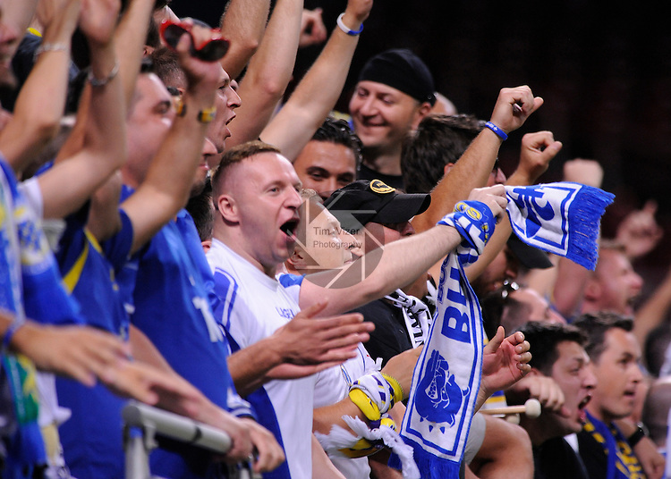 Soccer - International Friendly - Bosnia- Ivory Coast.<br /> Fans rooting for Bosnia cheer loudly after Bosnia's goal in the first half at the 17:12 mark. Bosnia played Ivory Coast in an international friendly game during &quot;The Road To Brazil&quot; series. The game was played at the Edward Jones Dome in St. Louis, Missouri on Friday May 30, 2014. Bosnia won, 2-1.