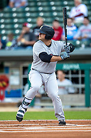 Mike Ford (36) of the Scranton/Wilkes-Barre RailRiders at bat at Victory Field on May 14, 2019 in Indianapolis, Indiana. The Indians defeated the RailRiders 4-2. (Andrew Woolley/Four Seam Images)