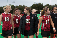 STANFORD, CA - November3, 2011: Kelsey Lloyd, Katie Mitchell, Devon Holman and Alex McCawley before the Stanford vs. Appalachian State opener of  the  NorPac Championship at the Varsity Turf on the Stanford campus Thursday afternoon.<br /> <br /> Stanford defeated Appalachian State 7-0.