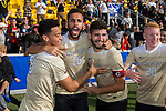 (L-R) Brandon Servania (8), Bruno Lapa (10), and Jon Bakero (7) celebrate their win in the 2017 ACC Men's Soccer Championship over the Virginia Cavaliers at MUSC Health Stadium on November 12, 2017 in Charleston, South Carolina. The Demon Deacons defeated the Cavaliers 3-2 in penalty kicks to win their second consecutive ACC Championship.  (Brian Westerholt/Sports On Film)