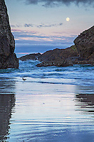 Sunrise and setting moon along the rugged coastline of Gold Beach Oregon