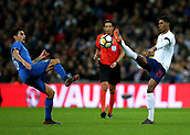 27th March 2018, Wembley Stadium, London, England; International Football Friendly, England versus Italy; Marcus Rashford of England and Lorenzo Pellegrini of Italy compete for the ball high loose ball