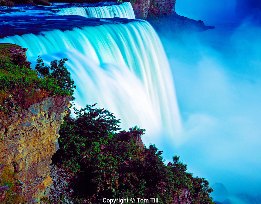 Niagara Falls at sunset,  Niagara Reservation State Park, New York,  Niagara River, Lakes Ontario and Erie, Western New York near Buffalo,  July