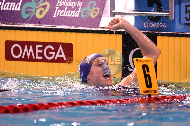 Great Britins Alison Sheppard celebrating after winning hte Woman's 50m freestyle at the European Short Course Swimming Championships 14 December 2003 Dublin Ireland.Photo: AFP PHOTO/NEWSFILE/FRAN CAFFREY...This Picture has been sent to you by Newsfile Ltd..The Studio,.Millmount Abbey,.Drogheda,.Co. Meath,.Ireland..Tel: +353(0)41-9871240.Fax: +353(0)41-9871260.ISDN: +353(0)41-9871010.www.newsfile.ie..general email: pictures@newsfile.ie