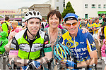 Seanie Burchill Killarney with his parents Mary and Sean after finishing the Ring of Kerry cycle in Killarney on Saturday