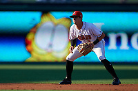 Indianapolis Indians shortstop Kevin Newman (3) during a game against the Rochester Red Wings on July 24, 2018 at Victory Field in Indianapolis, Indiana.  Rochester defeated Indianapolis 2-0.  (Mike Janes/Four Seam Images)