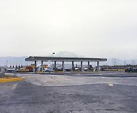 A gas station at the Mexico Puebla toll road. Chalco, Estado de Mexico, Mexico
