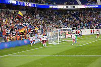 The New York Red Bulls celebrate their second goal of the night during their final match of the season against the New England Revolution at Red Bull Arena in Harrison, New Jersey on 21 October 2010.