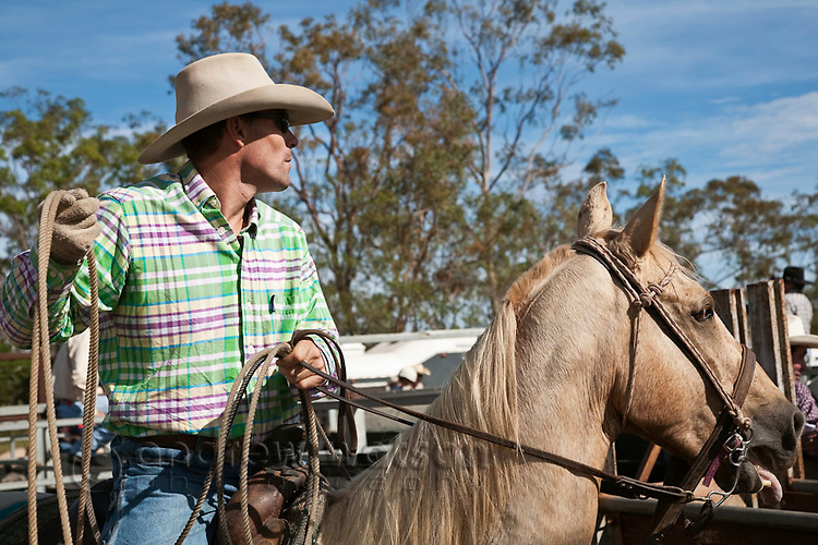 Cowboy on horseback with lasso in hand during the calf-roping competition.  Mt Garnet Rodeo, Mt Garnet, Queensland, Australia