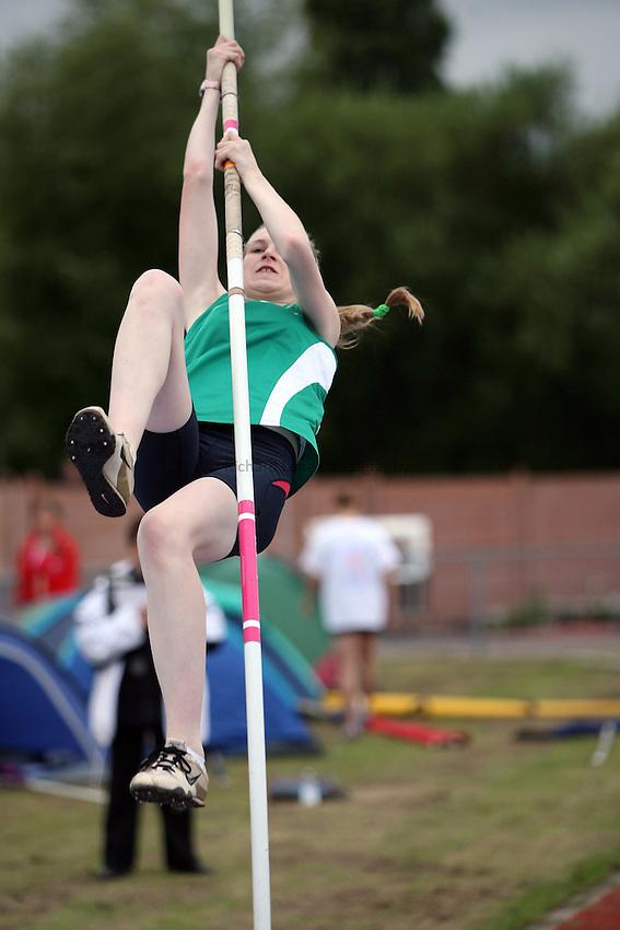 Photo: Rich Eaton...Schools International Athletic Board, Track & Field International Match, Newport. 21/07/2007. Nikita Savage of Ireland competes in the girls pole vault.
