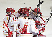 Paul Carey (BC - 22), Johnny Gaudreau (BC - 13), Edwin Shea (BC - 8), Patrick Wey (BC - 6) - The Boston College Eagles defeated the Providence College Friars 7-0 on Saturday, February 25, 2012, at Kelley Rink at Conte Forum in Chestnut Hill, Massachusetts.