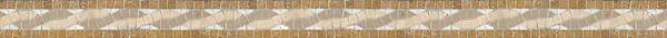 """2 3/8"""" Sienna border, a hand-cut stone mosaic, shown in tumbled Travertine Noce, Durango, Calacatta Tia, and Dijon Gold."""
